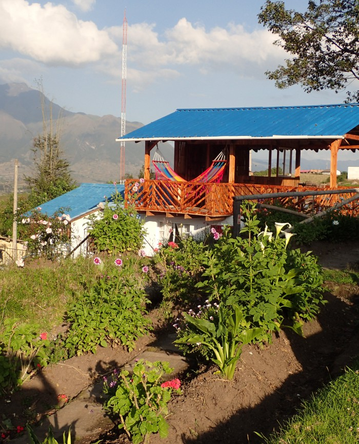 View of terrace above Imbabura 2 apartment with Volcan Imbabura in the backgorund