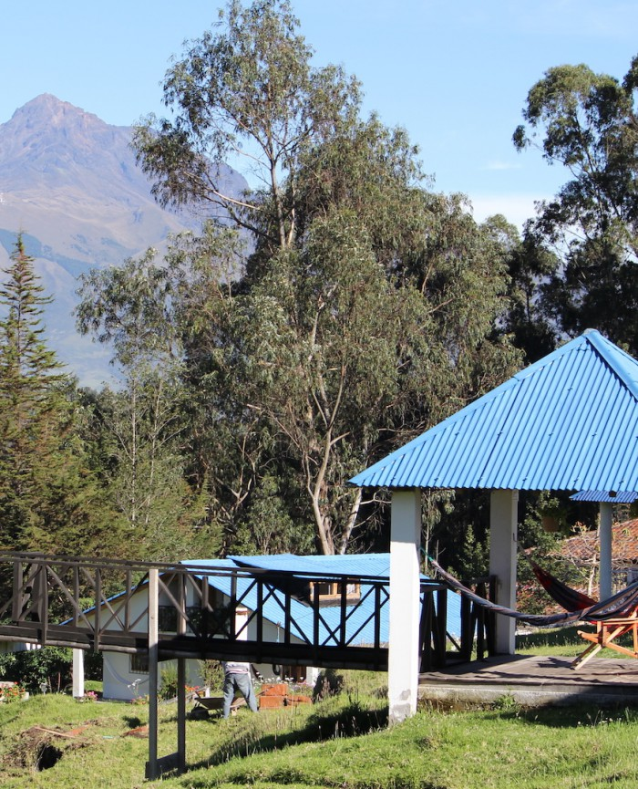 Volcan Cotacachi and Rose Cottage's Mirador, a great place to relax in a hammock
